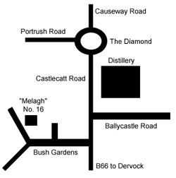 Map showing location of Melagh cottage in Bushmills