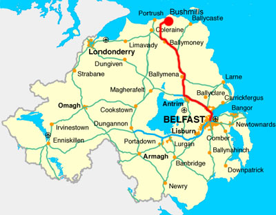 Map showing route to Bushmills